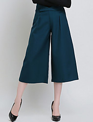 Women's Solid Black / Green Wide Leg Pants