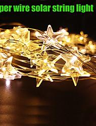 King Ro Solar 15ft 20LED Star Shape Christmas Tree Decor Light Outdoor Waterproof Holiday Light