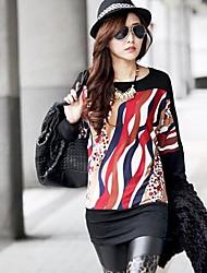 Women's Print Black Blouse , Round Neck Long Sleeve