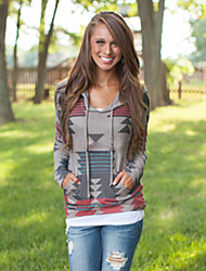 Women's Print Multi-color Hoodies , Print Hooded Long Sleeve