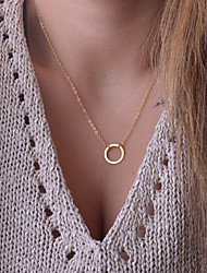 Women's Gold Plated Simple Jewelry Vintage / Cute / Party / Work / Casual Alloy Circle Pendant Necklace