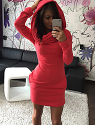 warmth Women's Solid Color Red / Black / Gray Dresses , Sexy / Casual / Work Round Long Sleeve