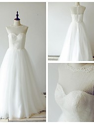 A-line Wedding Dress Sweep / Brush Train Jewel Lace / Tulle with Lace / Pearl / Sash / Ribbon