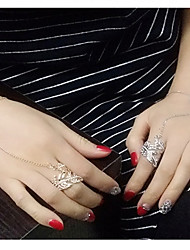 European Style Fashion New Trend of Shiny Rhinestone Leaf Bracelet Ring