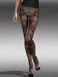 Women's Baroque Floral Lace Sheer Full Tights