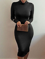 Women's Popular Heaps Collar Long Sleeve Solid Pure Color Bodycon Dress