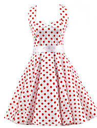 Women's White Red Mini Polka Dot Dress , Vintage Halter 50s Rockabilly Swing Dress