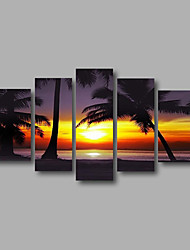 Ready to Hang Stretched Framed Hand-Painted Oil Painting Canvas Wall Art Sunrise Coco Trees Sea Five Panels