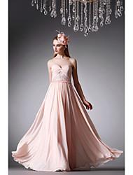 Fiesta formal Vestido - Rosa Perla Corte A Hasta el Suelo - Strapless Gasa