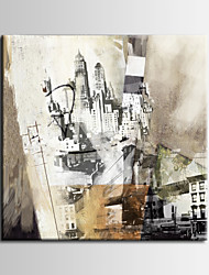 American city architecture theme abstract painting /  Printed on Canvas, Ready to Hang , Vertical