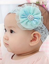 Kid's Pearl Mesh Flower Elastic Headband