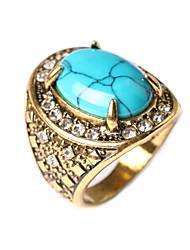 New Vintage Women's Turquoise Oval-shaped Geometric Rhinestone Ring