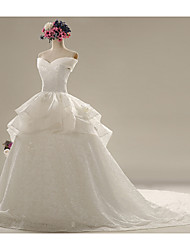 A-line Wedding Dress - White Chapel Train Sweetheart Lace / Satin