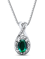 Sterling Silver set with Created Emerald and Diamond Pendant with Silve Box Chain