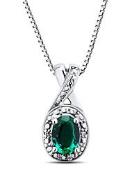 ensemble en argent sterling avec émeraude créé et pendentif diamant avec la chaîne de boîte de Silve