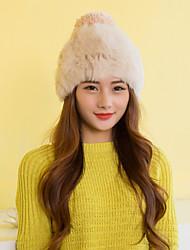 Women Cute Rabbit Fur Hats with Pompon LD00077
