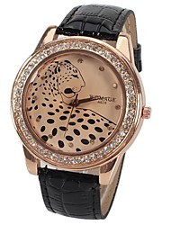 A628 Quartz Watch with 12 Small Diamond Dots Indicate Leather Watch Band Leopard Pattern Dial for Women Cool Watches Unique Watches
