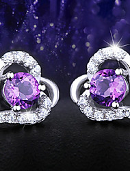 Stud Earrings Crystal Silver Plated Screen Color Jewelry 2pcs