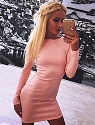 Dominic Women's Solid Color Pink / Red / Black Dresses , Bodycon / Casual Round Long Sleeve