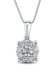 Women's Classic Sterling Silver set with Cubic Zirconia Pendant with Silver Box Chain
