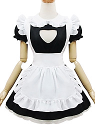 Black and White Polyester Maid Costume Type5