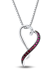 moda prata esterlina feminina conjunto com diamantes e rubi criado forma de coração pingente com cadeia de caixa silve