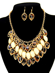 Women's Cute / Party / Casual Gold Plated Multi-Layers Choker Necklaces and Earring Set