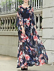 Women's Casual/Daily Dress,Floral Round Neck Maxi ¾ Sleeve Multi-color Polyester / Others Spring