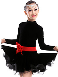 Latin Dance Outfits Children's Performance Cotton Spandex Polyester Linen Flower(s) 2 Pieces Dress Waist Belt