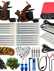 ITATOO® Top High Quality Kits Tattoo 2 Coil Tattoo Machines 20 Tattoo Needles with Free Gift of 20 Ink