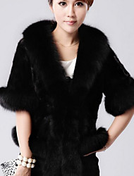 Women's Solid Color Red / White / Black Coats & Jackets , Casual / Party V-Neck Long Sleeve Ms mink shawl jacket