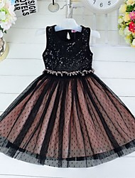 Girl's Black Dress,Jacquard Cotton / Mesh Summer