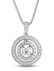 Women's Classic Sterling Silver set with Cubic Zirconia Pendant with Silve Box Chain