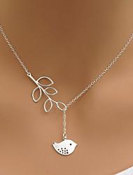 Women's Simple Fashion Hollow Leaves Leaf Bird Pendant Short Necklace