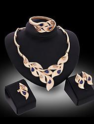 Lucky Doll Women's Luxury Gem 18K Gold Plated Zirconia Geometric Necklace & Earrings & Bracelet & Ring Jewelry Sets