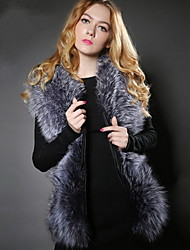 Women Faux Fur / Faux Leather Outerwear / Top Party Coat , Winter Fur Vest