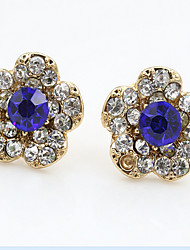 Cristal Moda Strass Formato de Flor Dourado Azul Real Jóias Para