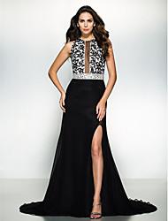 TS couture® формальный вечер / черный галстук гала-платье Онлайн жемчужина суд поезд шифон / кружева с вышивкой бисером / кружева