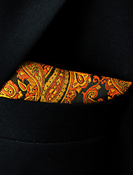 Men's Pocket Square Orange Paisley 100% Silk Casual Dress