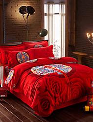 cama set sarja de algodão virada para manter grande edição quente flor cama quatro peças