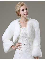 Fur Coats Shrugs 3/4-Length Sleeve Faux Fur Ivory Wedding / Party/Evening / Casual Lace Open Front