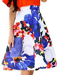 Women's Print New Arrival Fashion High Waist Skirts , Casual / Print Above Knee