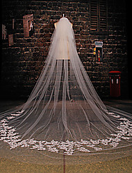 Wedding Veil Two-tier Cathedral Veils Cut Edge / Lace Applique