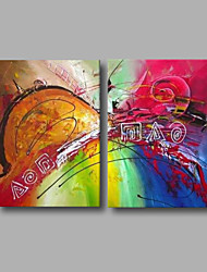 Ready to Hang Stretched Hand-Painted Oil Painting Canvas Modern Green Blue Red Home Deco Two Panels