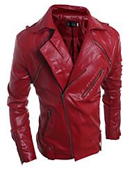 Men's Fashion Personality Detachable Large Lapel Slim Fit Leather Jacket