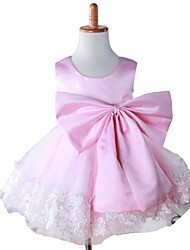 Girl Pink Satin Lace Embroidered Hand-made Princess Dresses