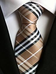 Men Wedding Cocktail Necktie At Work Beige White Cross Tie