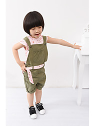 Girl's Clothing Sets Short Sleeve Flora T-shirts + Suspender Bibs (Top Can Move) + Belt 3pcs Sets (Cotton)
