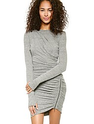 Dominic Women's Solid Color Gray Dresses , Bodycon / Casual Round Long Sleeve