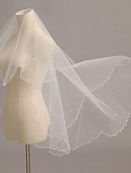 Wedding Veil One-tier Blusher Veils / Fingertip Veils / Communion Veils Pencil Edge / Pearl Trim Edge Tulle Ivory